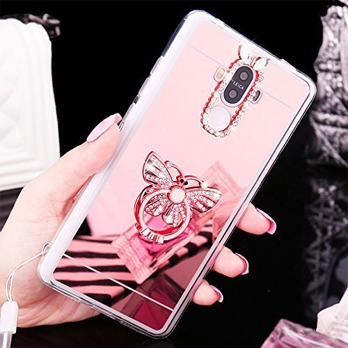 EUWLY Samsung Galaxy S4 Case,Samsung Galaxy S4 Mirror Case,Samsung Galaxy S4 Soft Gel TPU Rubber Bumper Mirror Silicone Case cover with Built-in Rotation Grip Ring Kickstand Anti-Shock Anti-Scratch Ul Butterfly,Rose Gold