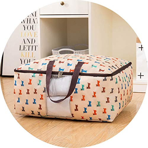 I'll NEVER BE HER High Quailty Clothes Storage Bag Waterproof Portable Closet Organizer Collapsible Quilt Container Oxford Home Storage Organizer,XXL About70X50X30Cm,Beige Horse