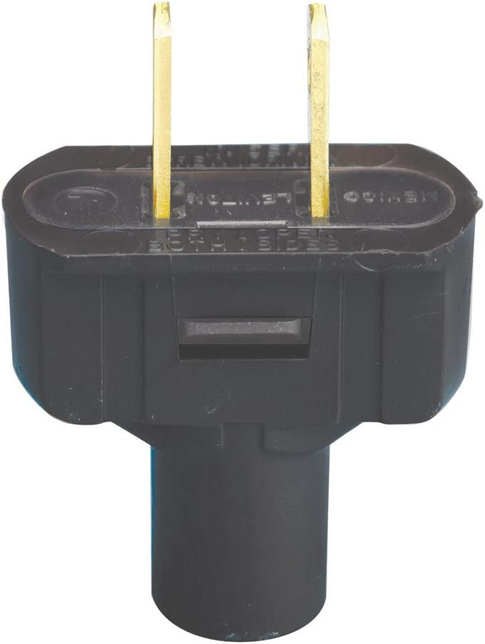 Leviton 48643-E 15 Amp, 125 Volt, Non Grounding Plug, Black - Electric Plugs -