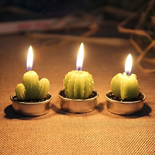 Cactus Tealight Candles, niceEshop(TM) 6pcs Creative Birthday Scented Candles Handmade Delicate Succulents Candles for Birthday/Party/Spa/Wedding/Home Decoration/Confession
