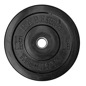 Rage Fitness Olympic Bumper Plate (SOLD INDIVIDUALLY - 10lb, 15lb, 25lb, 35lb, 45lb), Steel Insert, Crossfit, Strength Training, Bench Press, Squats, Powerlifting