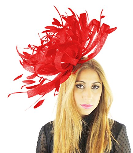 La E Con Feathers Fascia Piume Rosa Sinamay Candy 155 With Grande Per Fascinator 22 Inches Red Ascot About Wide Testa Pink xS4zwwqX