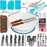 73 pcs Cake Decorating set with Turntable stand-24 Numbered Easy to use icing tips with pattern chart and EBook for kids-1 Cake Leveler-Straight and Angled Spatula-3 Russian Piping nozzles and many more!
