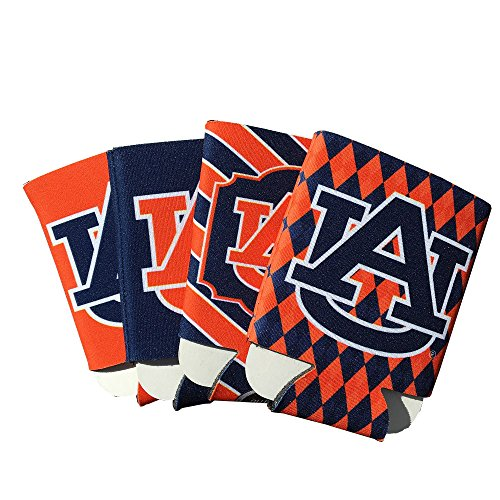 Auburn Tigers AU 4-Pack Multi Color Sublimated Neoprene Beverage 12oz Insulated Can Hugger (Auburn Tigers Beverage)