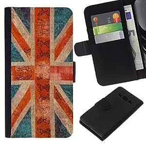 EJOY---La carpeta del tirón la caja de cuero de alta calidad de la PU Caso protector / Samsung Galaxy A3 / --Inglaterra Gran Bretaña gb rústico Londres