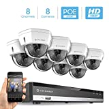 Amcrest 2MP 1080P Security Camera System, w/ 4K 8CH PoE NVR, (8) x 2-Megapixel 3.6mm Wide Angle Lens Weatherproof Metal Dome PoE IP Cameras, NV2108E-IP2M-851EW8 (White)