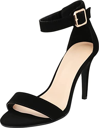 96fa44df2bd Cambridge Select Women s Open Toe Single Band Buckled Ankle Strap Stiletto  High Heel Sandal