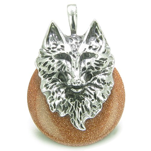 Amulet Wolf Head Courage and Protection Powers Lucky Donut Goldstone Pendant Necklace