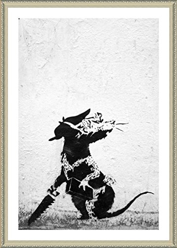 "Alonline Art - Rat With Dollar Eyes And Jigsaw Banksy Biege FRAMED POSTER (Print on 100% Cotton CANVAS on foam board) - READY TO HANG | 15""x21"" 
