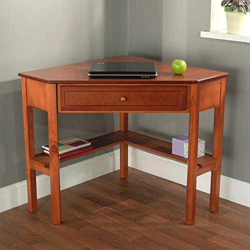 """Space-Saving Wooden Corner Writing Desk, Suitable for Home or Office with small spaces, Classic and Antique Design, Best for Computer/Laptop use, Available in Multiple Finishes (42""""W x 28""""D x 30""""H) Generic"""