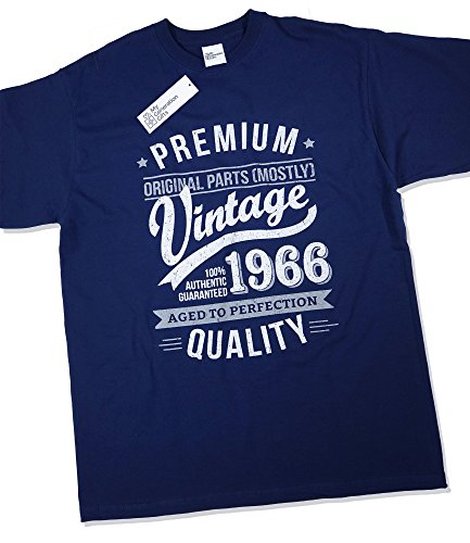 1966 Vintage Year - Aged to Perfection - 50th Birthday Gift / Present T-Shirt Mens Navy XL