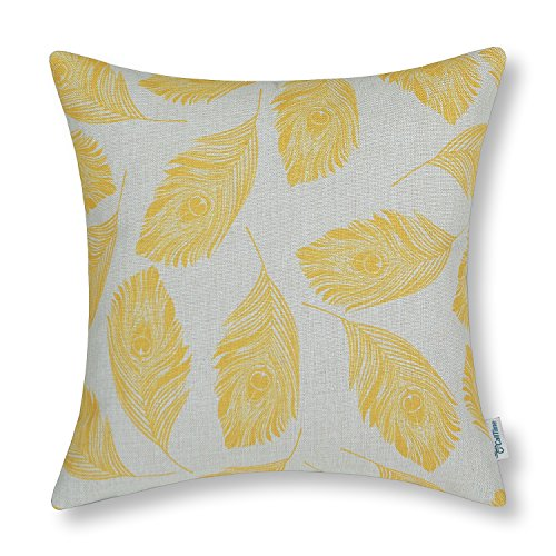 CaliTime Cushion Cover Throw Pillow Case Shell Peacock Feathers 18 X 18 Inches Yellow (Washable Throw Pillows)