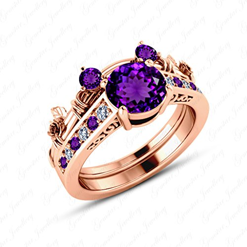 - Gemstar Jewellery Brilliant Cut Amethyst 14K Rose Gold Finish Mickey Mouse Wedding Bridal Ring Set