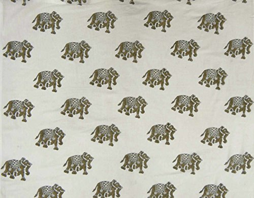 Indian Decorative Cotton Voile Fabric Hand Block Print Sewing Material By The Yard