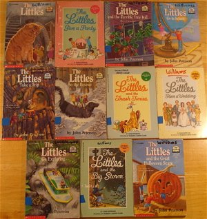 Set of Littles books: 11 vol.: The Littles, Give a Party, Big Storm, Go to School, Great Halloween Scare, Trash Tinies, Have a Wedding, Terrible Tiny Kid, Go Exploring, Take a Trip, To The Rescue