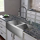 vigo 36 inch farmhouse apron double bowl 16 gauge stainless steel kitchen sink with edison stainless steel faucet two grids two strainers and soap