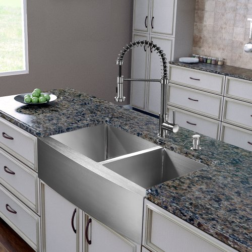 VIGO 36 inch Farmhouse Apron 60/40 Double Bowl 16 Gauge Stainless Steel Kitchen Sink with Edison Stainless Steel Faucet, Two Grids, Two Strainers and Soap Dispenser