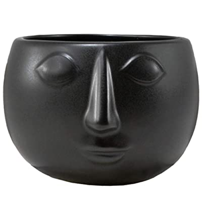 "Ceramic Black Mod Face Planter, Succulent Planters Cactus Flower Plant Pot 4.75""Dia x 3.5""H : Garden & Outdoor"