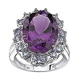 Oval-Cut Genuine Purple Amethyst and Tanzanite .925 Sterling Silver Flower Motif Ring