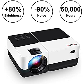 """GEARGO Video Projector, 2800 Lumens HD Portable Projector with 185"""" and 1080P Support, Compatible with Amazon Fire TV Stick/Laptop/SD/XBOX/iPad iPhone Android for Home Theater"""