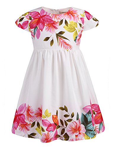 Dillards Dresses For Kids (Abaosisters Little Girls Floral Dress with Cap Sleeves 3-8 Year Old (2-3 yrs, Pink))