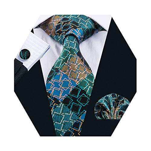 Barry.Wang Plaid Tie Silk Woven Check Necktie Pocket Square Cufflinks Set Wedding Formal (Green Beige)