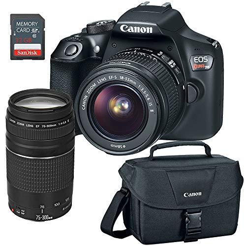 Canon EOS Rebel T6 DSLR Camera w/EF-S 18-55mm, EF 75-300mm Lens, 32GB SD Card & Camera Bag (Certified Refurbished)