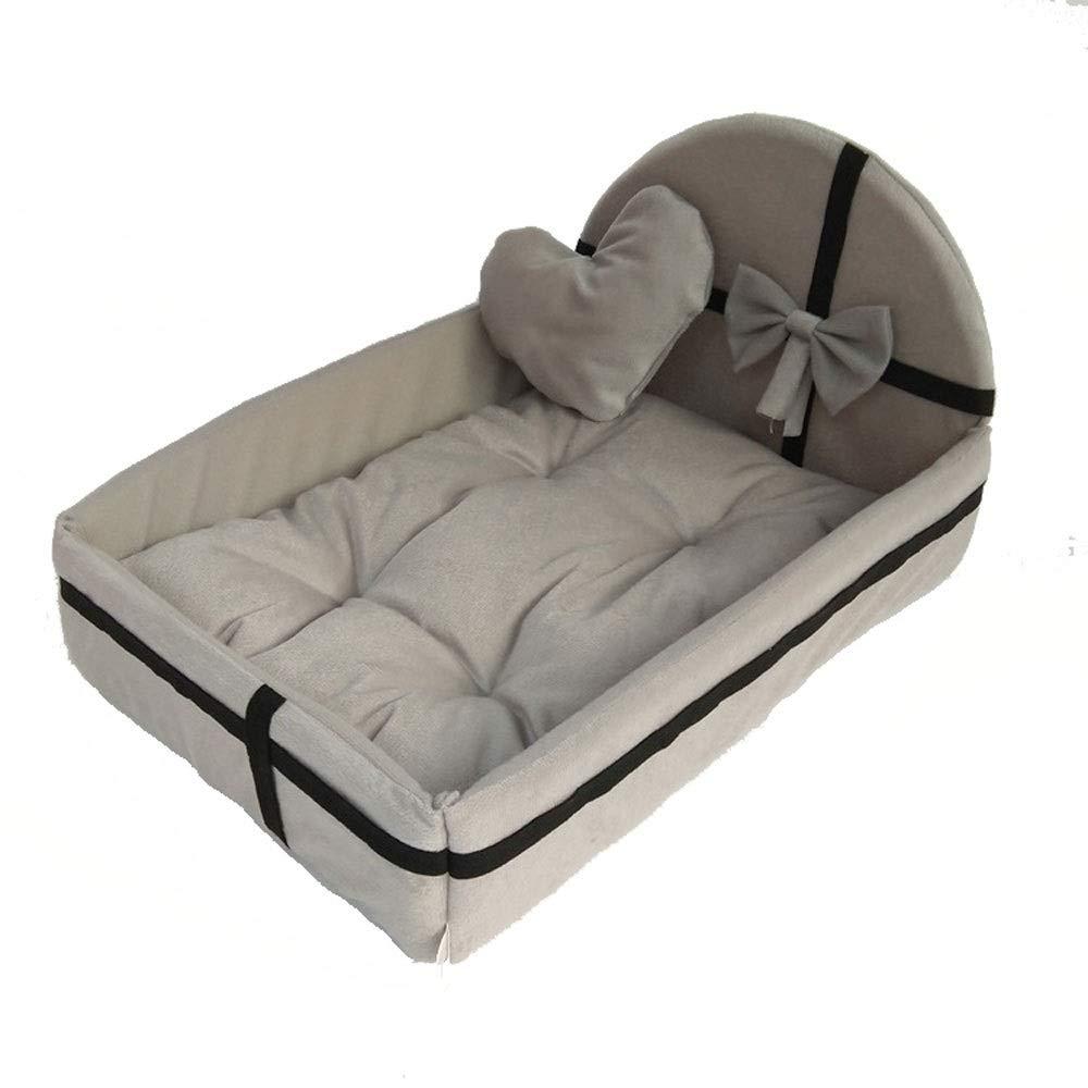 ペットの巣取り外し可能および洗えるペット用品冬の豪華な犬小屋猫用トイレ砂の王女ベッド犬のベッド犬のマット中小犬 (色 : Pink-xl) B07NPDFNW9 Gray-m  Gray-m