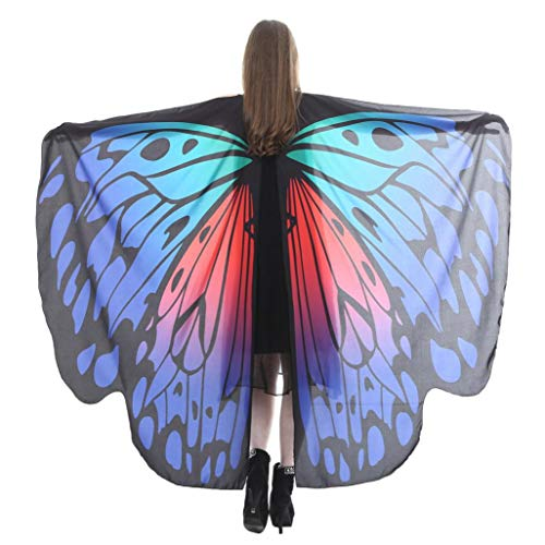 iDWZA Women Butterfly Wings Shawl Scarves Pixie Party Cosplay Costume Accessory(168135cm,Red H)