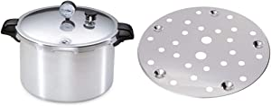 Presto 01755 16-Quart Aluminum canner Pressure Cooker, One Size, Silver & Cooking/Canning Rack for Pressure Canner
