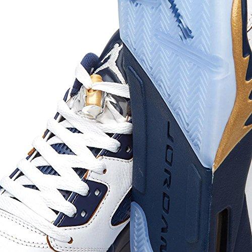 Air Jordan 5 Sneakers Basse Retrò Da Uomo 819171-135 Bianco, Mtlc Oro Stella Mid Navy