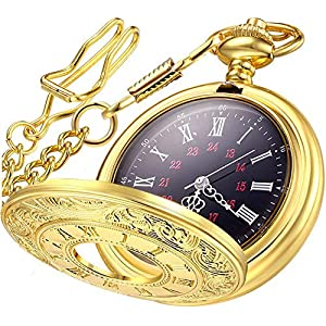 LYMFHCH Vintage Roman Numerals Quartz Pocket Watch, Men Womens Watch with Chain Xmas Fathers Day Gift
