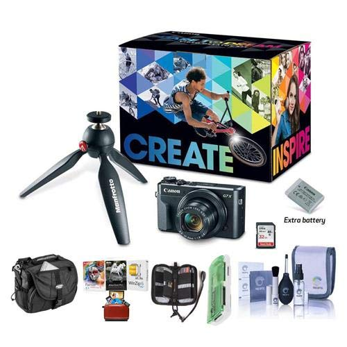 Canon PowerShot G7 X Mark II Video Creator Kit - Bundle with Camera Case, Cleaning Kit, Memory Wallet, Card Reader, Mac Software Package