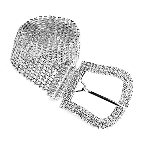 (Luxury Sparkling Silver Plated Crystal Rhinestone Belt Woman Waistband)