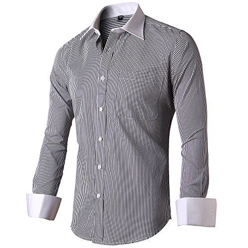 (INFLATION Men's Slim Fit French Cuff Shirts Long Sleeve Spead Collar Metal Cufflink Dress ShirtStripe Black18 Neck 36.5