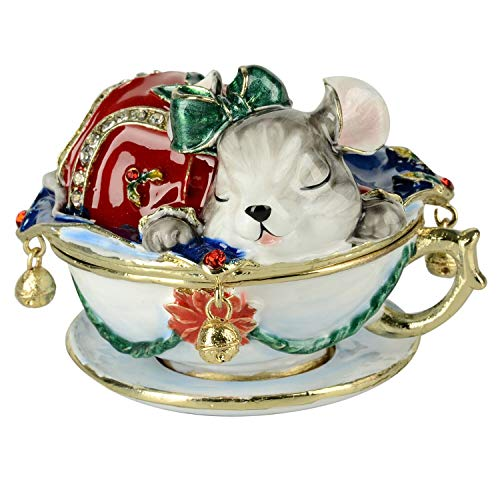 Mouse Enamelled Ring Trinket Jewelry Box Animal Collectible Christmas Gifts - Enamelled Trinket Box
