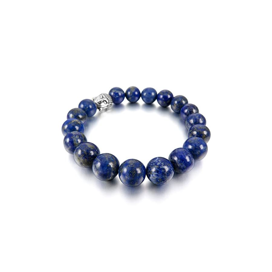 INBLUE Women,Men's 10mm 12mm Alloy Energy Bracelet Link Wrist Energy Stone Blue Silver Tone Buddha Mala Bead