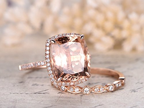 2pcs Engagement Rings Sets,10x12mm Cushion Cut Big Natural Peach Pink Morganite Stone 14k Rose Gold Diamond Halo Claw Ring Vintage Retro Half Eternity Marquise Milgrain Wedding Stacking Band Set