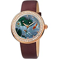 Burgi Crystal Studded Women's Watch – Hand Painted Koi Fish On Mother of Pearl Dial - Accented Bezel Markers – Black Satin Leather Strap – BUR188BR
