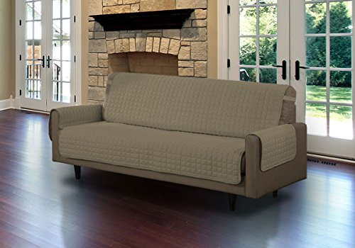 Linen Store Quilted Microfiber Pet Dog Couch Sofa Furniture Protector Cover, Tucks & Strap (Sofa, Mocha)