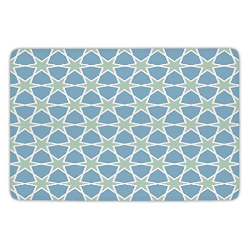 Bathroom Bath Rug Kitchen Floor Mat Carpet,Moroccan,Mosaic Pattern Repeating Glazed Zellige Art Figures Stars Roman Inspirations,Green Blue White,Flannel Microfiber Non-slip Soft - Roman Bath Mosaics