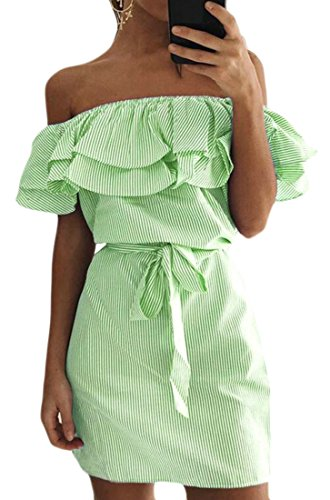 Green Shoulder Dress Off Women's Cromoncent Slim Short Striped Sexy Ruffles R8zHnHqI