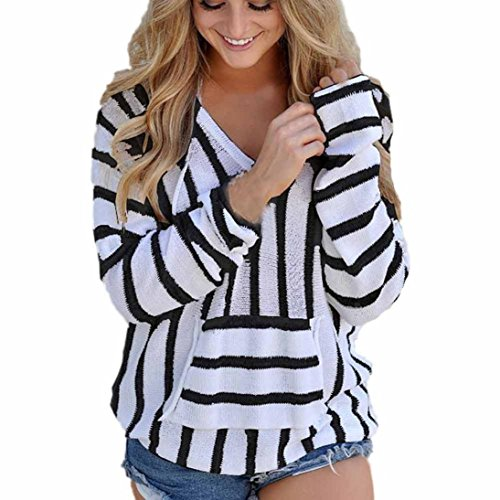 Kangma Tees&Blouse&Sweatshirt Kangma Women V-Neck Stripe Long Sleeve Jumper Hoodie Sweater Ladies Casual Knitwear Tops Black ()