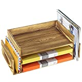 Rustic Burnt Wood 3-Tier Office Desktop Document Tray & Mail Sorter Organizer Rack Review