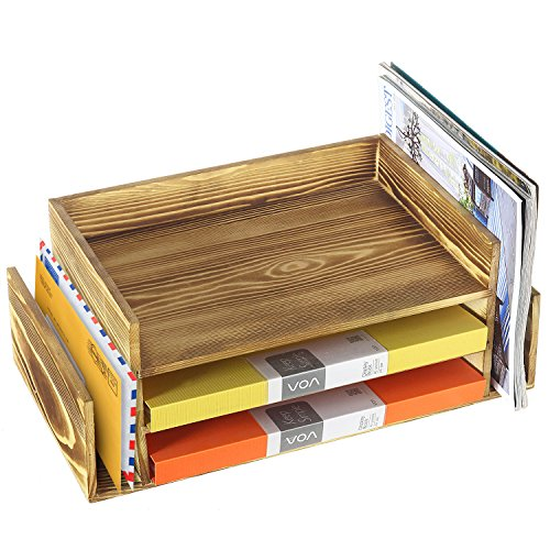 Rustic Burnt Wood 3-Tier Office Desktop Document Tray & Mail Sorter Organizer Rack