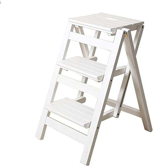 Taburete de Escalera Plegable de Madera Paso de 3 Capas Biblioteca de Adultos Casa Cocina Baño Muebles de Biblioteca MAX.150KG - Blanco: Amazon.es: Hogar