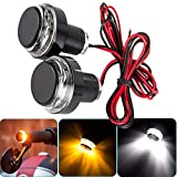 Auxbar Motorcycle Handlebar End Amber LED Turn Signal Lights Grips Bar Plug Strobe Side Marker Indicator Lamp Black 2-Pack