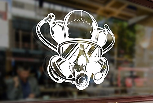 25cm DIVER Scull Scuba Diving Vinyl Stickers Funny Decals Bumper Car Auto Computer Laptop Wall Window Glass Skateboard (Diver Scuba Diving Bumper Sticker)