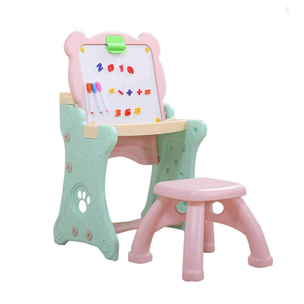 LING AI DA MAI Step2 Art Master Children's Drawing Board Study Table, Double-Sided use, Magnetic Plastic Drawing Board, Foldable and Easy to Store by Furniture feet-DA