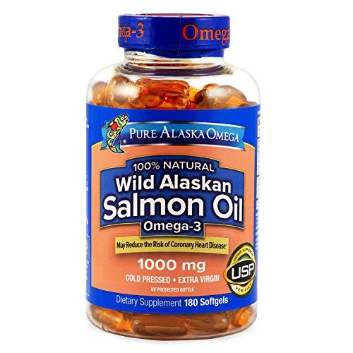 - Pure Alaska Omega Wild Alaskan Salmon Oil 1000 mg - 2 Bottles, 180 Softgels Each